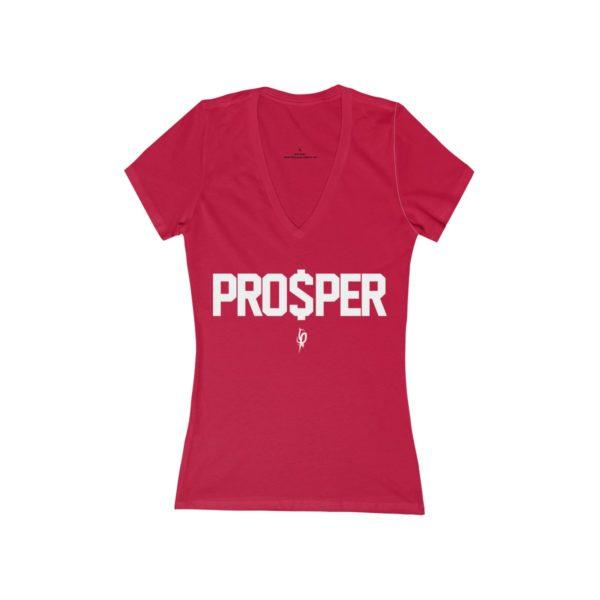 Women's Red Flourish and Prosper PRO$PER Jersey Short Sleeve Deep V-Neck Tee 1
