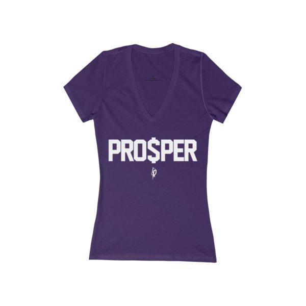 Women's Purple Flourish and Prosper PRO$PER Jersey Short Sleeve Deep V-Neck Tee 1