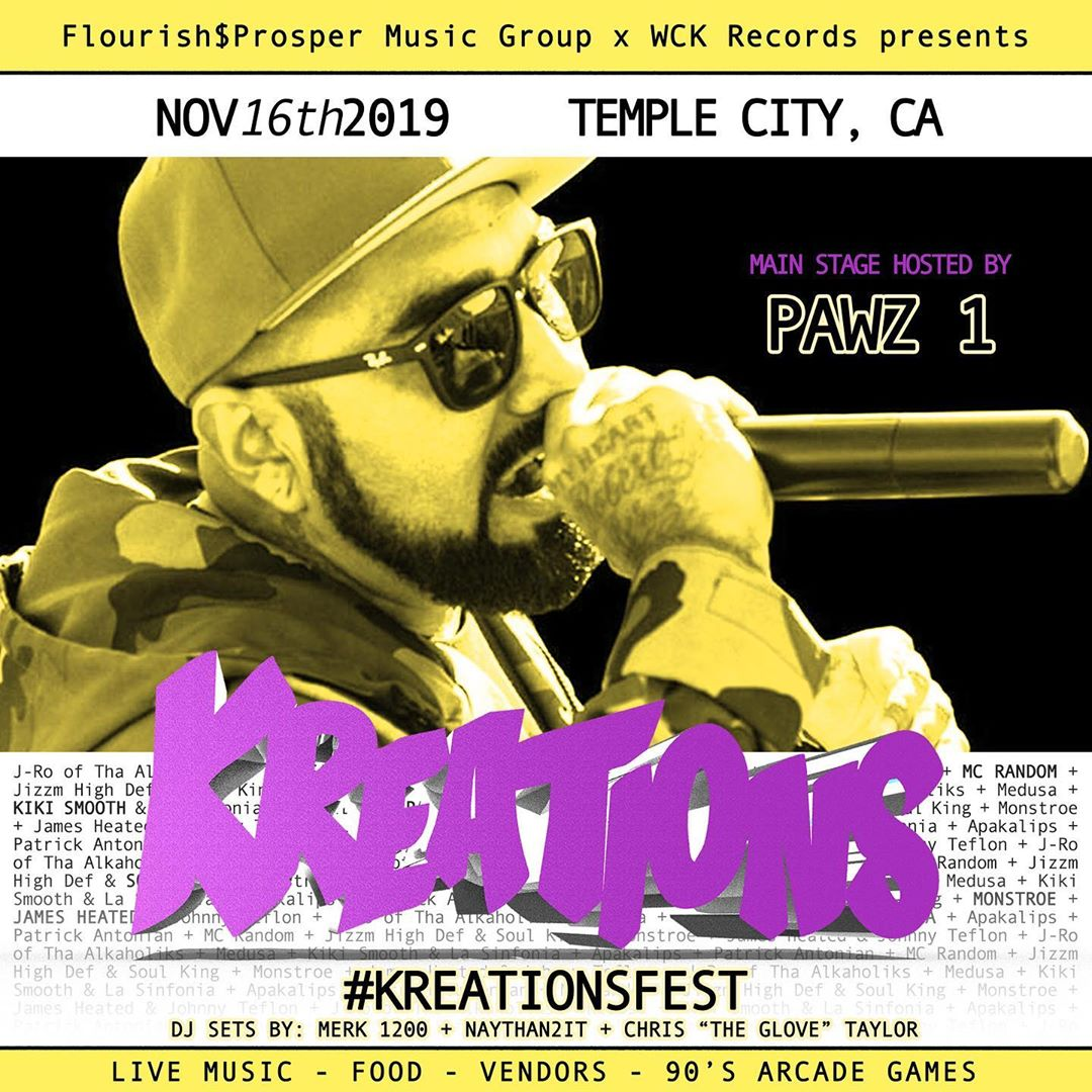 #KREATIONSFEST November 16th 2019 in Temple City. Buy your pre-sale tickets toda...